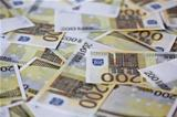 Two hundred euro banknotes background