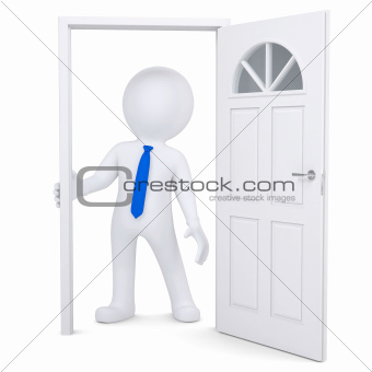 3d white man in the open doorway