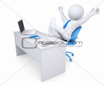 3d white human sitting at the table happily raised his hands up