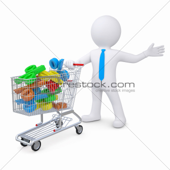 3d white man with a cart filled with percent signs