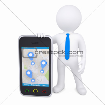 3d man and a smartphone with a map and marks