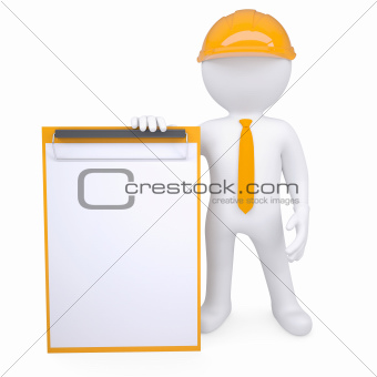 3d man in a helmet holding a clipboard