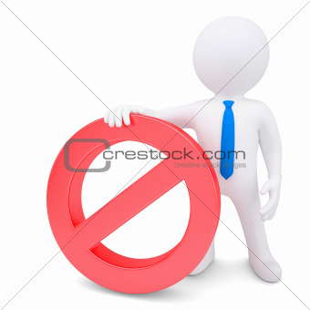 White 3d man with red prohibitory sign