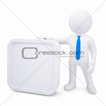 3d man with a white rectangle frame