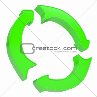 Three green arrows rotating around