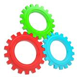 Three colorful gears