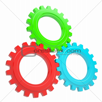 Three colorful gears