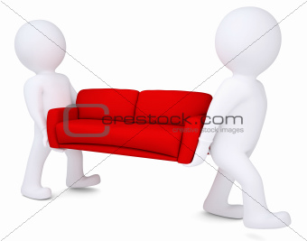 Two white 3d man bear red sofa