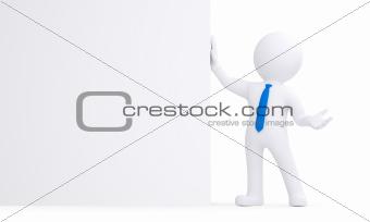 3d white man next to a white wall