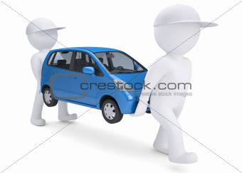Two white 3d man bear a blue car