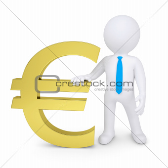 White 3d man near the golden euro sign