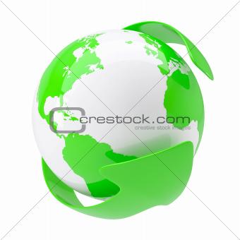Green arrow around the earth