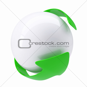 Green Arrow around a white sphere