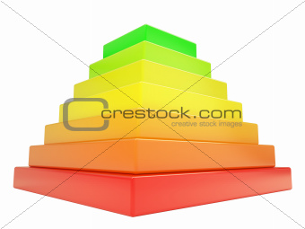 Pyramid of colored cubes