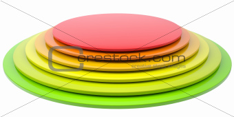 Button of colored discs