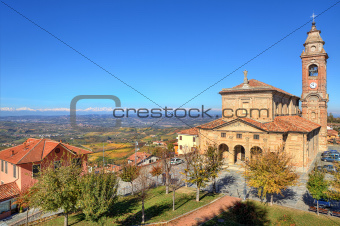 Old church under blue sky. Diano D'Alba, Italy.