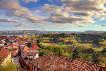 Small town among hills. Piedmont, Italy.