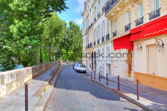 Narrow street in Paris, France.