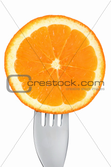 fresh orange fruit slice on white