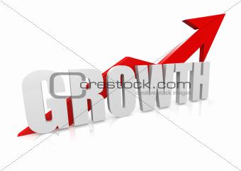 Growth with upward red arrow
