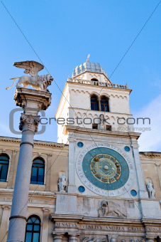 olumn and clock tower of Palazzo del Capitanio in Padua,