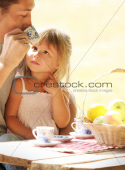 father and daughter on picnic