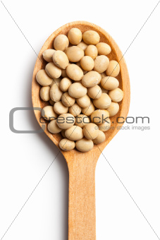 soy beans in wooden spoon