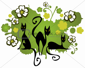 three cats and flowers