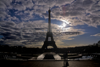 Backlit Eiffel Tower