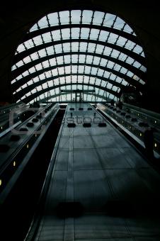 Canary Wharf tube station escalators