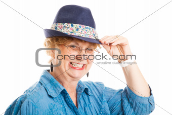 Cute Middle Aged Woman Tips Hat