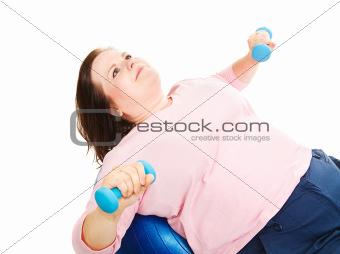 Plus Size Woman Does Pilates