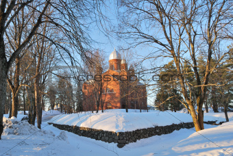 Finland. Lappeenranta Lutheran Cathedral at sunset