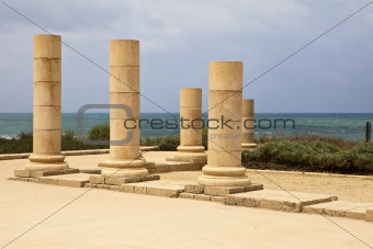 Stone Pillars At Caesaria