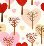 Seamless pattern with hearts and trees.