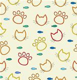 Pattern with traces of the cat and the cat face outline