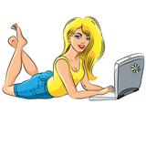 vector beautiful girl blonde with laptop