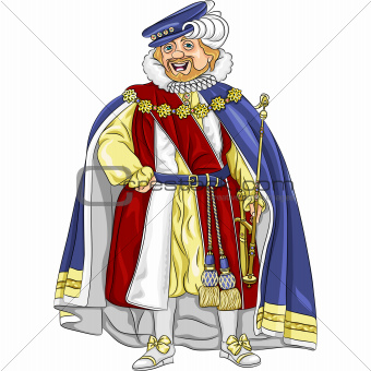 vector funny fairytale cartoon king in ceremonial robes and crow