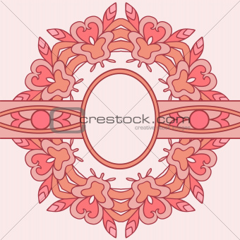 Pink decorative round frame.