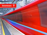 red high speed train