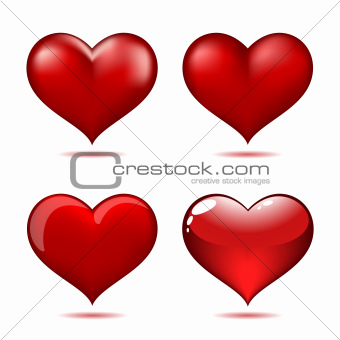 Set of Big Red Hearts
