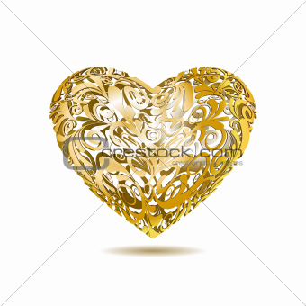 Gold Openwork Floral Heart
