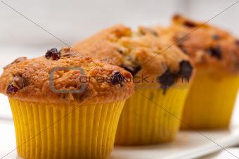 fresh chocolate and raisins muffins