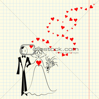 vector couple in love: the bride and groom at the piece of scrap