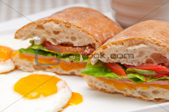 ciabatta panini sandwich eggs tomato lettuce
