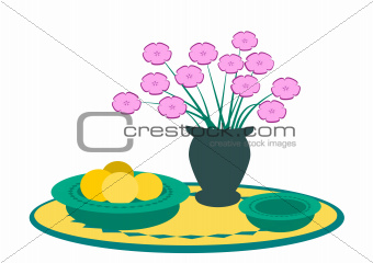 Vase of Flowers and Fruit.