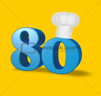 number eighty with cook hat