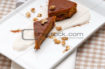 fresh healthy carrots and walnuts cake dessert