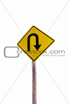 U-turn symbol Road in rustic city isolated
