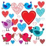 Set of birdies and hearts